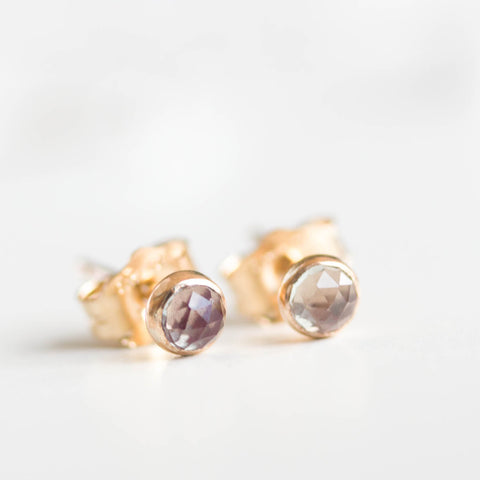 Alexandrite stud earrings, tiny stud earrings, 14k gold filled, June birthstone