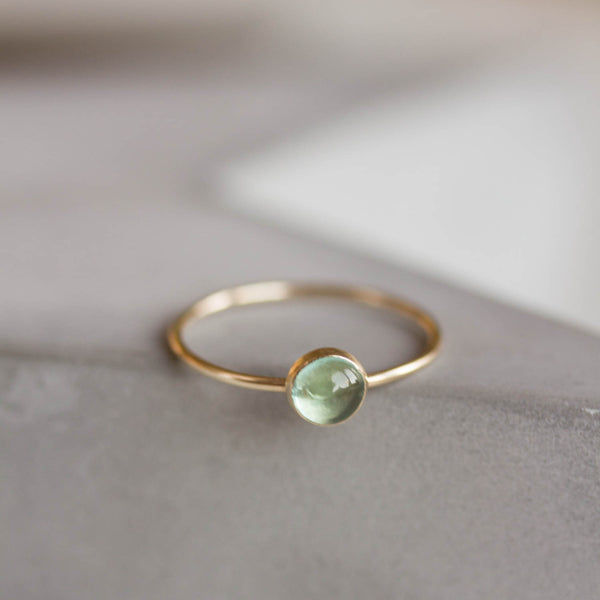 Apatite - skinny stackable ring with rose cut sky blue Apatite gemstone 9k gold