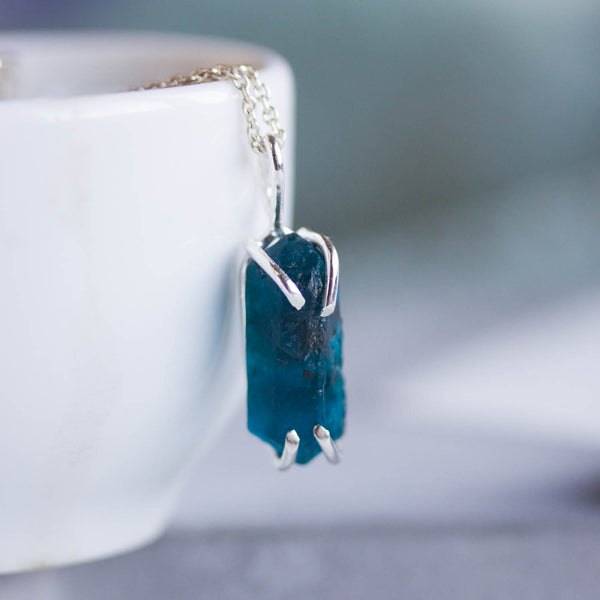 Raw Brazilian Apatite necklace - rough stone necklace, indigo blue apatite, sterling silver or 9k gold