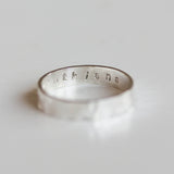Textured ring with personalized inscription on the inside, 2, 3 or 4mm wide