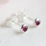 Tiny stud earrings with pink Tourmaline stones, sterling silver, minimalist stud earrings, dainty earrings, October Birthstone