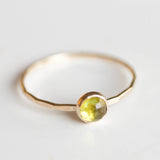 Peridot ring in gold - skinny stackable ring with rose cut Peridot stone, August birthstone