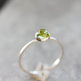 Peridot ring - skinny stackable ring with rose cut Peridot stone, August birthstone