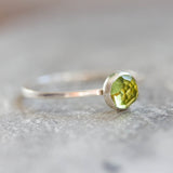 Spring (Green Peridot) - Simple silver solitaire ring with Green Peridot faceted gemstone