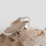White Topaz - stackable ring with 3mm gemstone, sterling silver or 9K gold