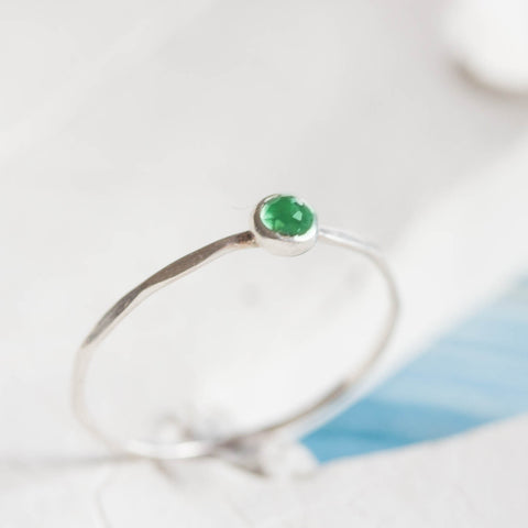 Tiny Emerald ring - skinny silver stacking ring with rose cut Emerald stone, May birthstone