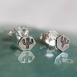 Tiny cactus studs - sterling silver, minimal, simple every day earrings