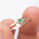 Emerald ring - skinny stackable ring with Emerald gemstone, May birthstone