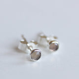 Smoky quartz stud earrings, tiny stud earrings, dainty studs, sterling silver or 14k gold filled