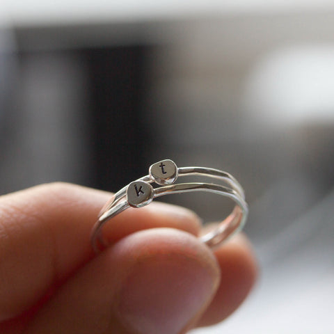 Initial ring, tiny dainty stacking ring, Sterling silver stackable ring