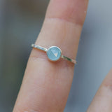 Aquamarine ring - skinny stackable ring with rose cut Aquamarine stone, March birthstone