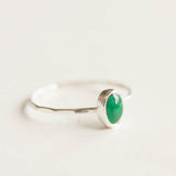 Oval Emerald ring - skinny stackable ring with Emerald stone, May birthstone, sterling silver, 9k gold