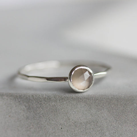 Gray Moonstone - Simple silver solitaire ring with gray Moonstone rose cut gemstone, June birthstone, 5mm