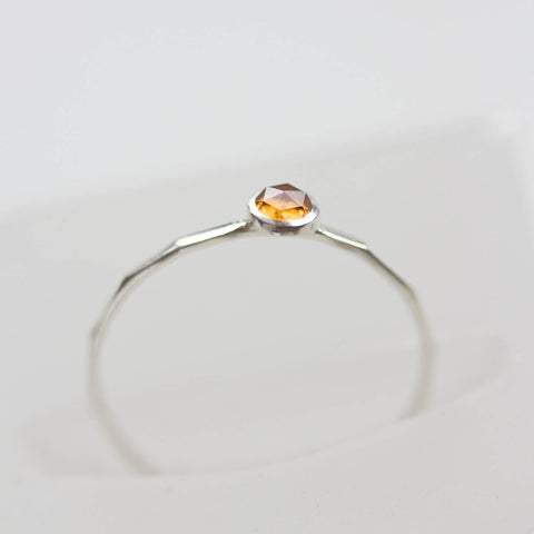 Citrine ring - skinny stackable ring with rose cut golden citrine gemstone, November birthstone