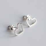Hearts stud earrings, sterling silver or 9k Gold