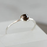 Smoky Quartz - stackable ring with 5mm gemstone, sterling silver or 9K gold
