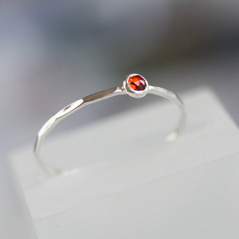 Red Garnet - skinny stackable ring with Almandine Garnet gemstone, January birthstone