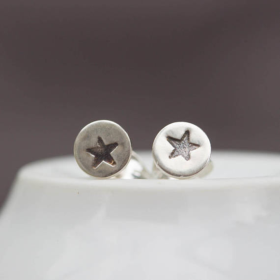 Sterling silver Star stud earrings - minimal, simple every day earrings
