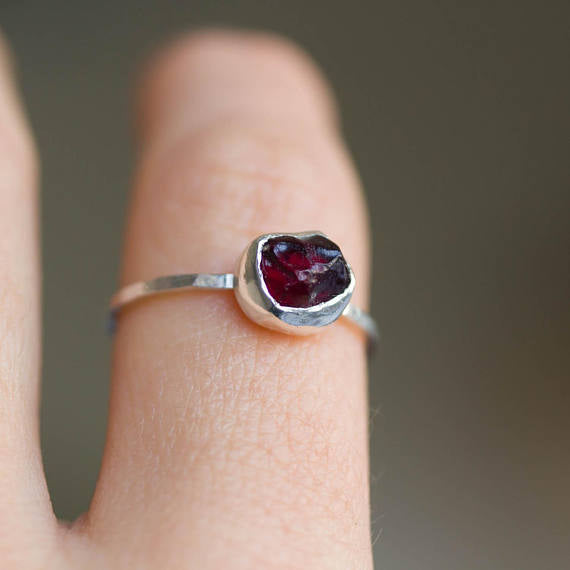 Raw Garnet ring in Sterling Silver, OOAK, January birthstone