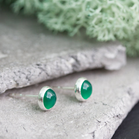 Minimalistic stud earrings with natural green agate, sterling silver