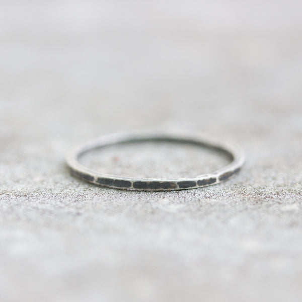 Rough - stacking ring, Sterling silver stackable ring