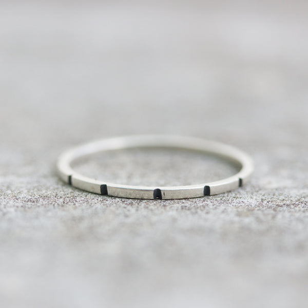 Striped - stacking ring, Sterling silver stackable ring