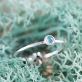 Tiny Apatite - skinny silver stacking ring with rose cut sky blue Apatite