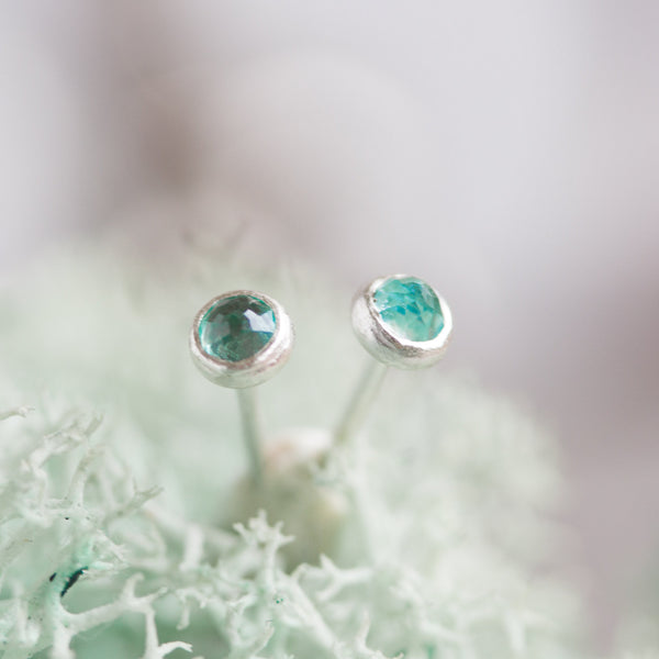 Tiny stud earrings with Apatite stones, sterling silver