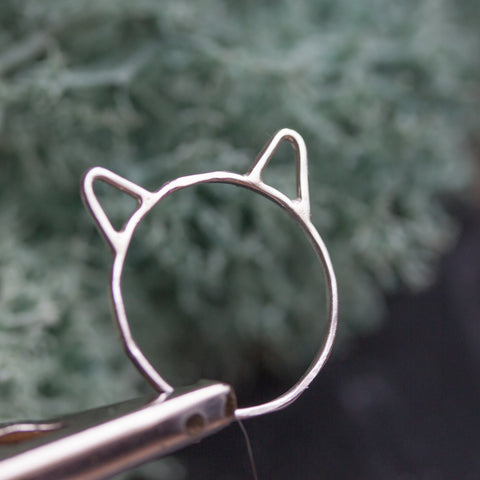 Cute cat ring - Skinny sterling silver stacking ring, stackable ring