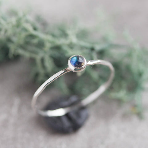 Tiny Labradorite ring - skinny silver stacking ring with rose cut Labradorite stone