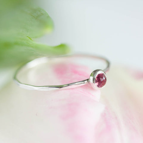 Tiny pink Tourmaline ring - skinny silver stacking ring with rose cut pink tourmaline stone, October birthstone