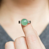 Titan - Sterling silver ring with green aventurine, solitaire ring, natural stone ring