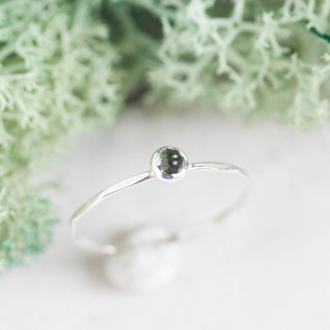 Tiny Green Tourmaline - skinny silver stacking ring with rose cut Tourmaline stone