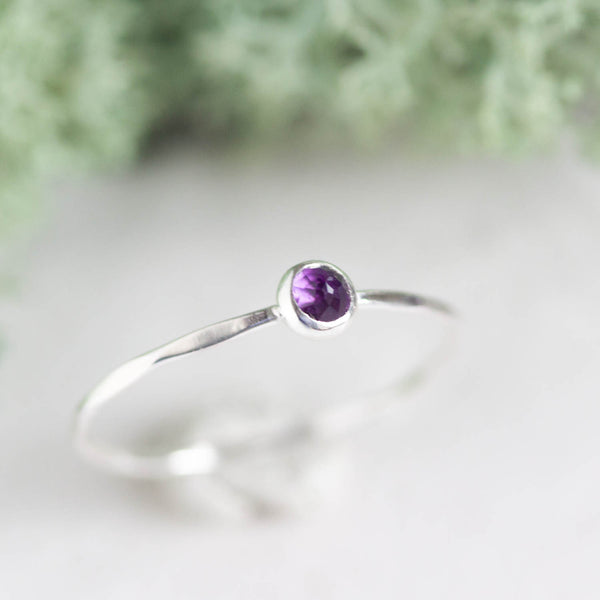 Tiny Amethyst - skinny silver stacking ring with rose cut Amethyst stone, February Birthstone
