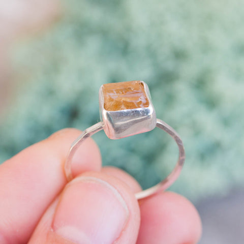Raw Topaz ring in Sterling Silver, rough golden yellow topaz ring, OOAK, November birthstone