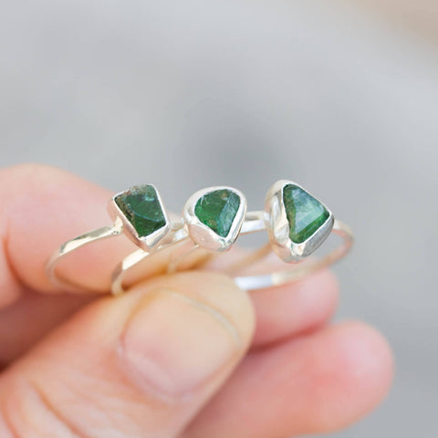 Uvite Tourmaline ring in Sterling Silver, raw deep green tourmaline ring, OOAK, October birthstone