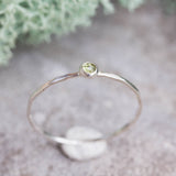 Tiny Peridot ring - skinny silver stacking ring with rose cut Peridot stone, August birthstone
