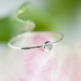 Tiny Aquamarine ring - skinny silver stacking ring with rose cut Aquamarine stone, March birthstone