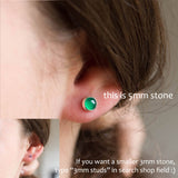 Minimalistic stud earrings with natural green agate, sterling silver, 5mm
