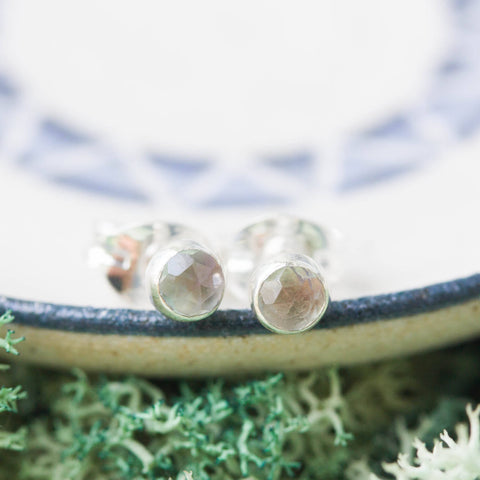Tiny stud earrings with Alexandrite stones, sterling silver