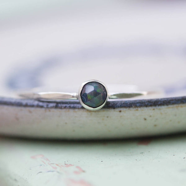 Tiny Black Opal - skinny silver stacking ring with rose cut black opal stone 3mm