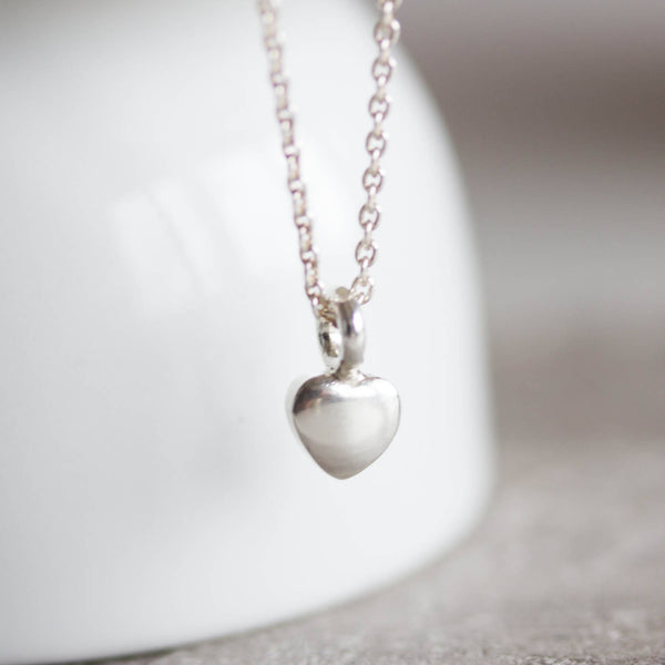 Heart charm necklace, personalized with initial at the back