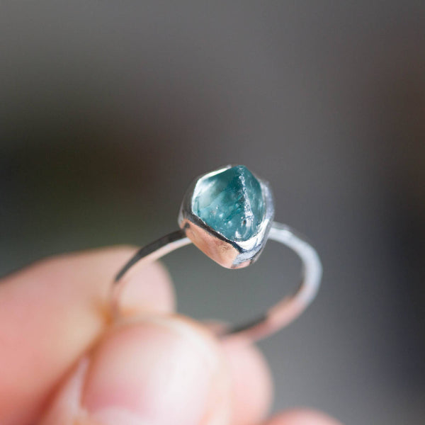 Silver ring with Blue Zircon crystal, raw rough stone ring, December Birthstone