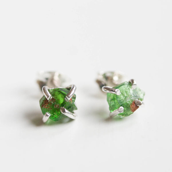 Rough gemstone stud earrings with Uvite Tourmaline stones, sterling silver