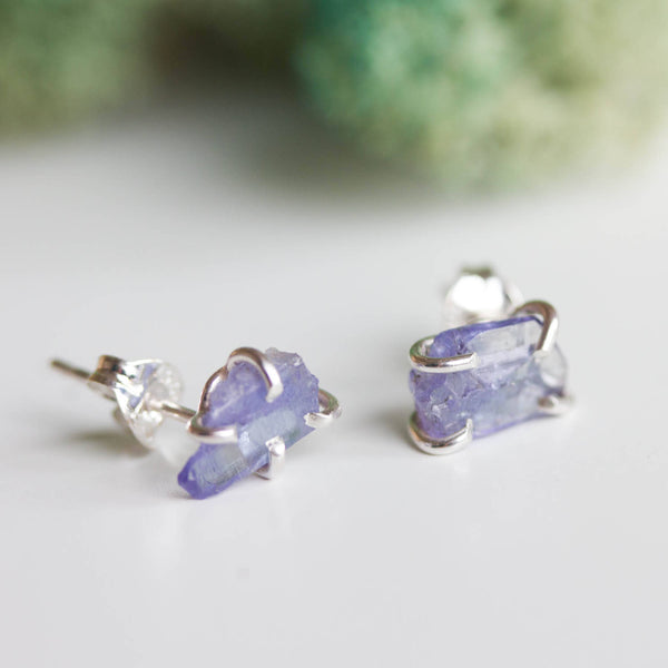 Rough gemstone stud earrings with Tanzanite crystals, sterling silver
