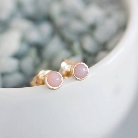 Tiny stud earrings with Pink Opal stones, 14K gold filled, dainty earrings, 3mm studs
