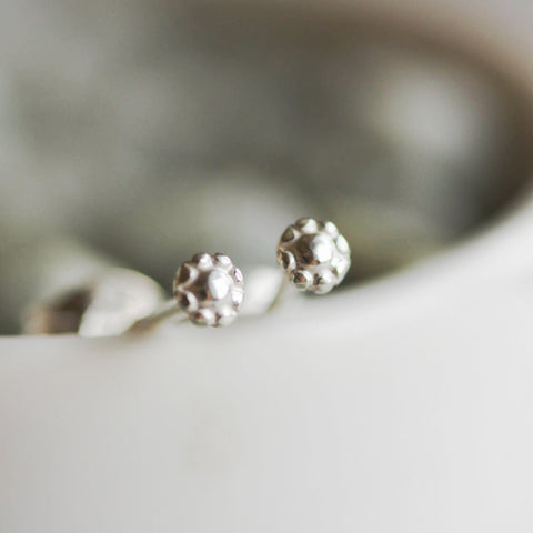 Tiny flower stud earrings - sterling silver, minimal, simple every day earrings