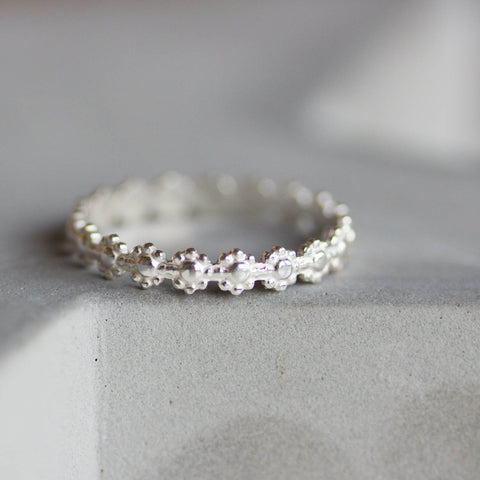Floral ring - stacking ring, dainty ring, Sterling silver stackable ring