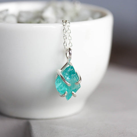 Rough Apatite necklace - simple pendant, sterling silver, sky blue apatite