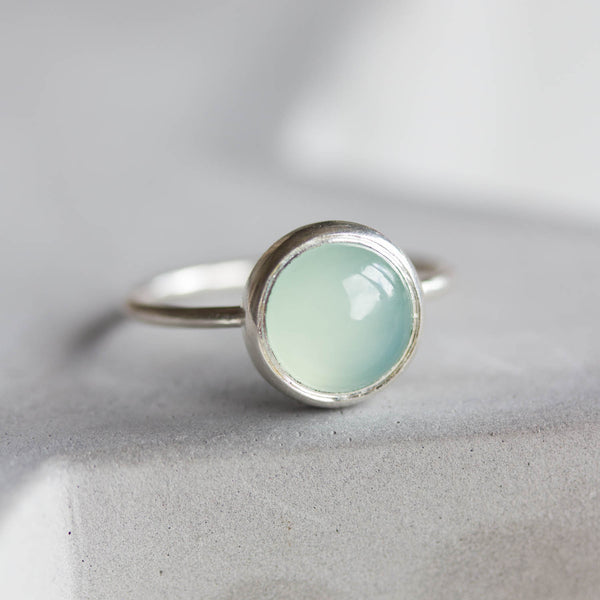 Blue chalcedony cabochon ring, aqua blue 8mm stone